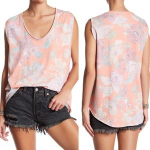 Free people floral coral slouchy v neck large